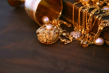 jewellery box: Treasure with cops space Stock Photo