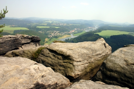 View from sandstone mountains in Saxony Switzerland, Germany - overlooking river Elbe  Stock Photo