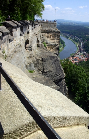 View from castle Koenigstein looking out over river Elbe in Saxony Switzerland near Dresden  photo