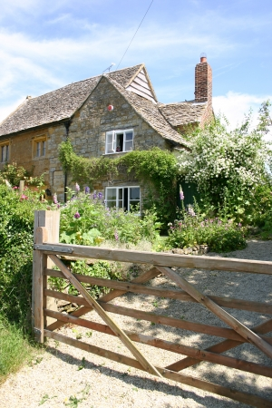House on a country lane in Dorset, England photo