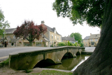 A cotswold village scene at Bourton on the water in England