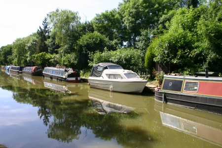House boats barges moored at Hatton locks near Warwick in England