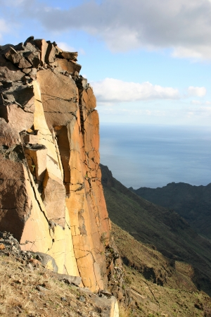Rocky landscape glowing in the early evening sun on La Gomera, Canary Islands, Spain photo