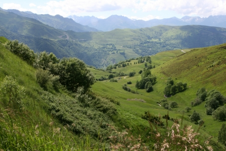 View of French Pyranees near Peragudes and Luchon Stock Photo