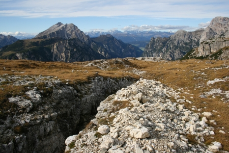Trenches on a mountaneous border between Austria and Italy, Tirol Stock Photo