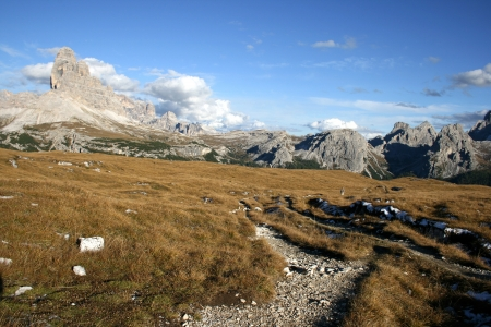 View of a mountain called  3 Zinnen  in Tirol Italy