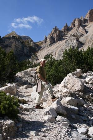 Hiker in Dolomites, Italy Stock Photo