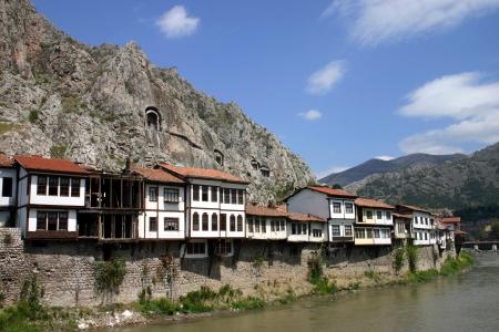 Riverside houses at Amasya, central Anatolia, Turkey  Stock Photo