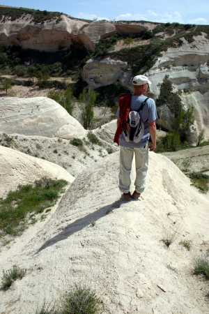 moon walker: Hiker looking over Rose valley, Cappadocia, Turkey
