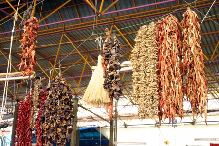 Red chillies hanging in a turkish market