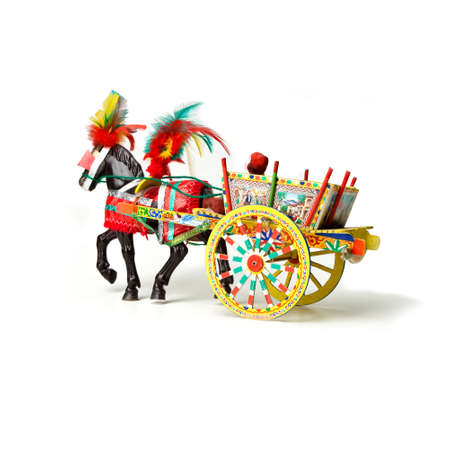 Sicilian cart icon traditional - isolated on white background