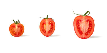 Cherry Tomatoes Halved, Sliced, with Shadow, Closeup - Small to Big - Isolated on White Background Stok Fotoğraf