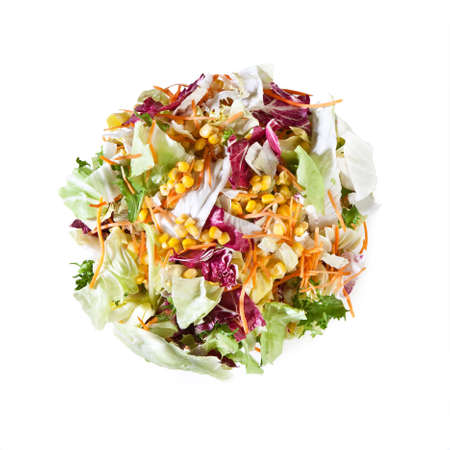 Mixed Salad - Iceberg, Radicchio, Endive, Carrots, Corn, Aragula - Isolated on White Background