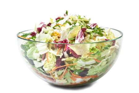 Mixed Salad Bowl - Isolated on White Background
