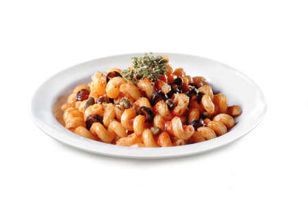 Italian Pasta with Tomato Sauce and Olives - Isolated on White Background