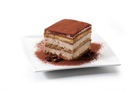 Tiramisu - coffee-flavored Italian dessert. It is made of ladyfingers (savoiardi) dipped in coffee Banco de Imagens