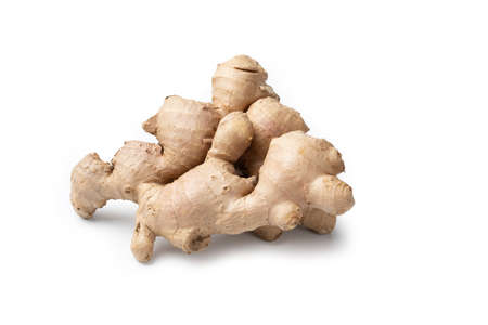 Ginger Root - Close-Up and Macro Detail of a Whole Raw Ginger Root - Isolated on White Background Stok Fotoğraf