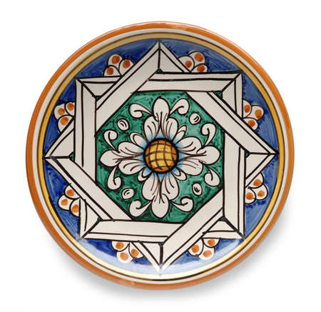 Decorated Plate Top View - Hand-Painted Traditional Italian Ceramic from Caltagirone, Sicily - Isolated on White Background