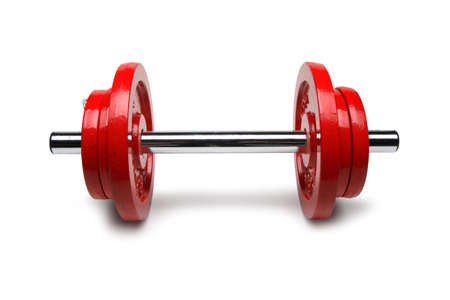 Dumbbell with Red Plates, Weight Training, Weightlifting in Gym - Front View - Isolated on White Background Stok Fotoğraf