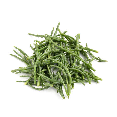 Glasswort Stalks, Bunch of Samphire Isolated on White Background - Green Salicornia Harvest, Pickleweed Vegetable, Raw Organic Vegetarian Ingriedient - Close-Up Macro, High Resolution, Top View Stock Photo