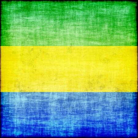 gabon: gabon grunge flag
