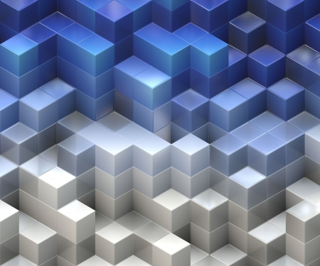 abstract 3d blocks: blue cubes Stock Photo