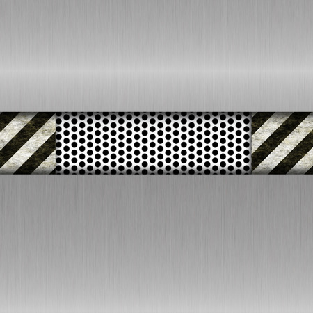 metal template: metal template with warning stripes Stock Photo