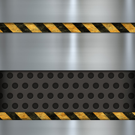 metal template: metal template and warning sign Stock Photo