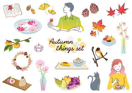 Set of fashionable fruits, sweets, miscellaneous goods, and accessories in autumn
