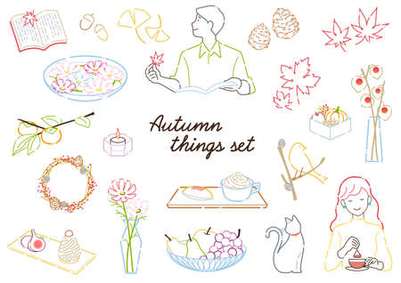 Line drawing set of fashionable fruits, sweets, miscellaneous goods, and accessories for autumn