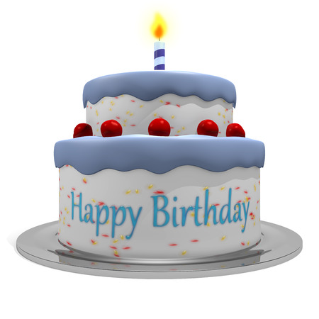for boys: 3D Happy Birthday Blue Cake for Boys Stock Photo