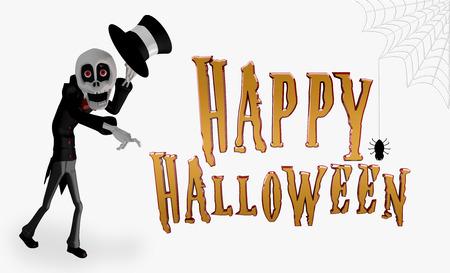 Cartoon Skeleton with Hat celebrating Happy Halloween Imagens