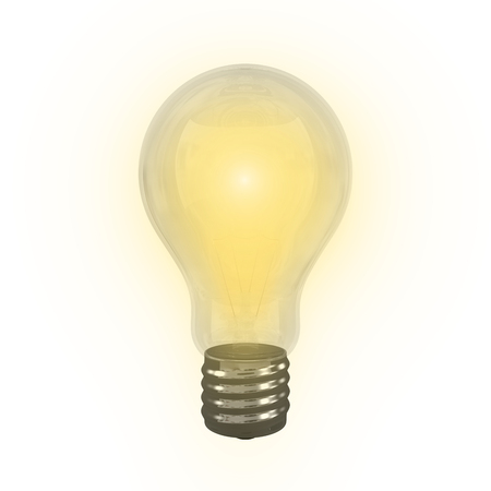 brigth: Brigth Incandescent Lamp with white background Stock Photo
