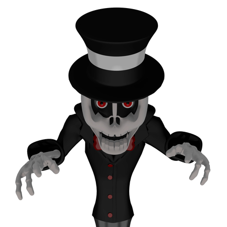 scare: Scare 3D Cartoon Skeleton with white background