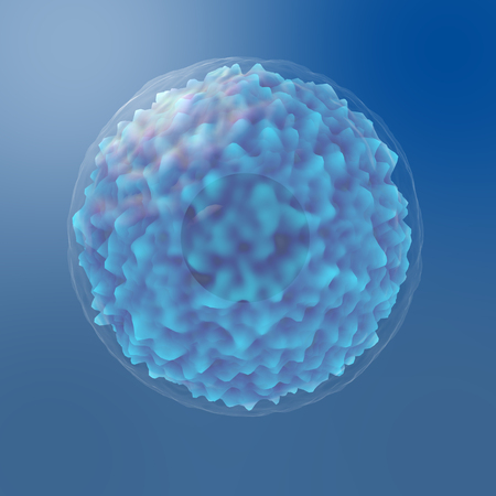 Science Microscopic Light Blue Cell Render with Blue Background