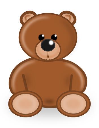 plush: Cartoon Brown Bear plush Toy Illustration Stock Photo