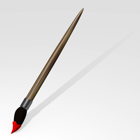 brush in: Paint Brush in a blank board 3d render Stock Photo