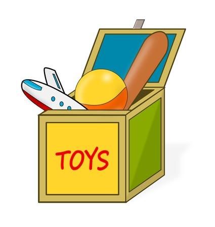 Opened cartoon Children's Toy Box 2D Illustration Imagens