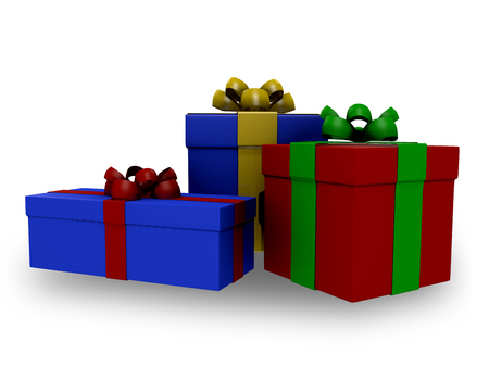 three gift boxes: Three gift boxes with tapes red yellow blue
