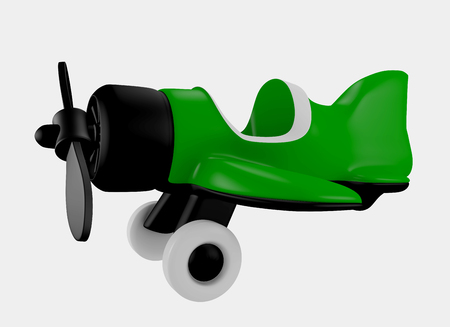 infantile: Red Airplane Toy Cartoon for kids 3d rendered Stock Photo