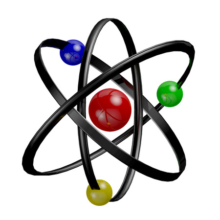 neutrons: Atom Symbol Science neutrons and electrons 3D render Stock Photo