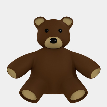 infantile: Red Bear Toy Cartoon for kids 3d rendered
