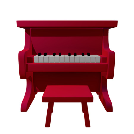 infantile: Red Piano Toy Cartoon for kids 3d rendered
