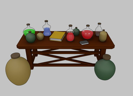 spells: 3D Rendered Magic and Spells Table with potions