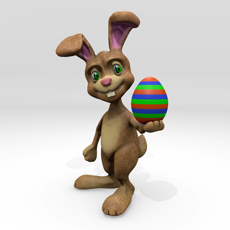 colored egg: Easter Bunny with colored egg 3D render Stock Photo