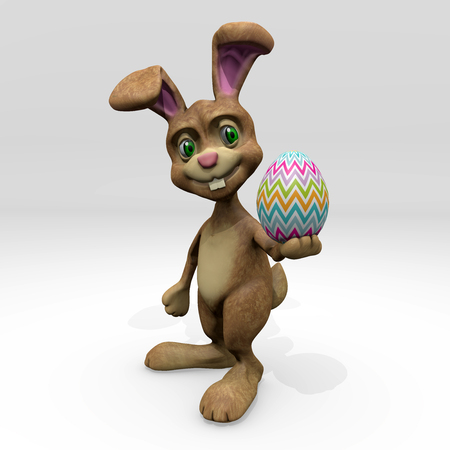 ester: Ester Bunny with colored egg 3D render