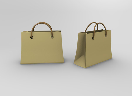 white paper bag: Clear white paper bag shop mock up Stock Photo