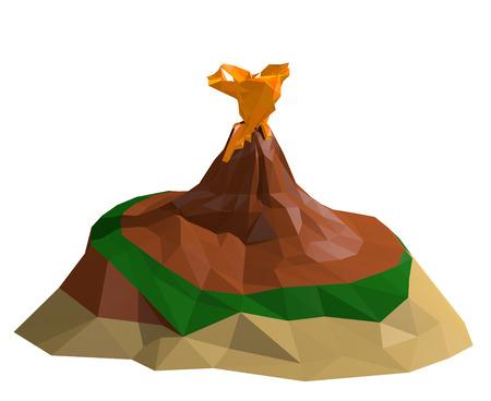 Desert Volcano Island Low poly 3D Render Illustration