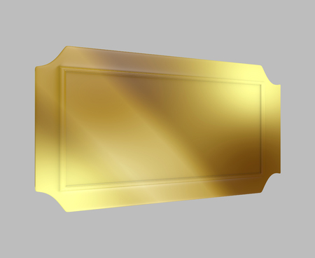 Perspective view of a golden ticket or board