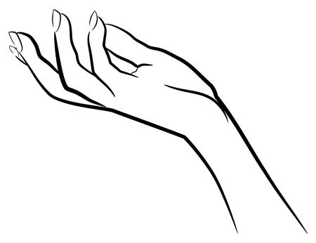 ポーズを保持している女性の手トレース図面 写真素材